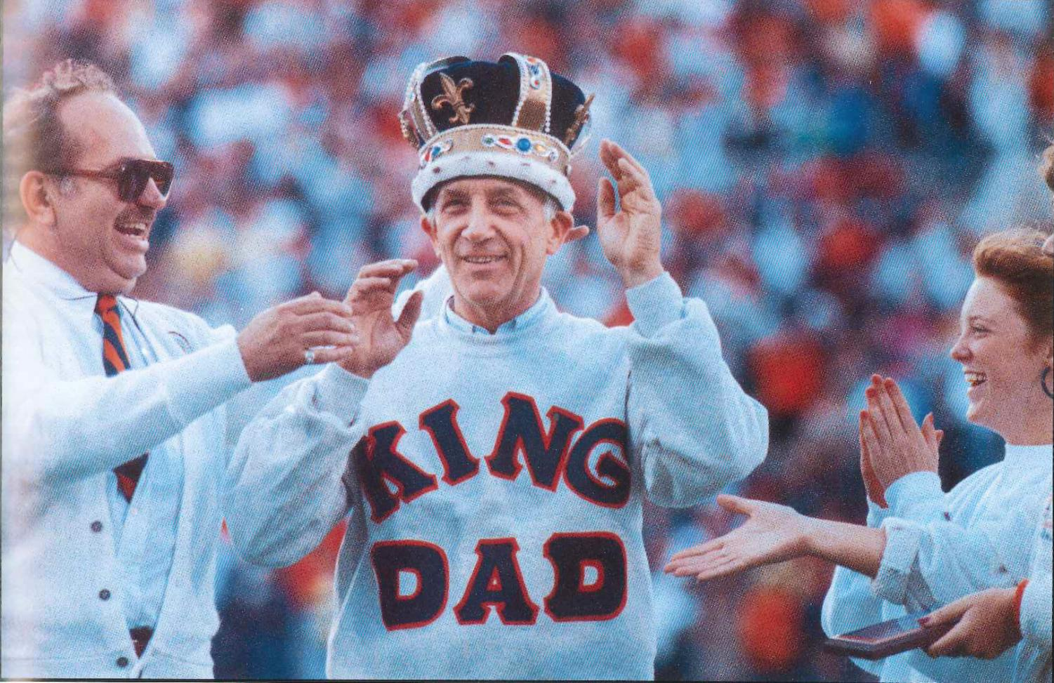 Robert Randall is crowned King Dad in 1991. This was a competition in which students voted on the best Illinois dad of that year.