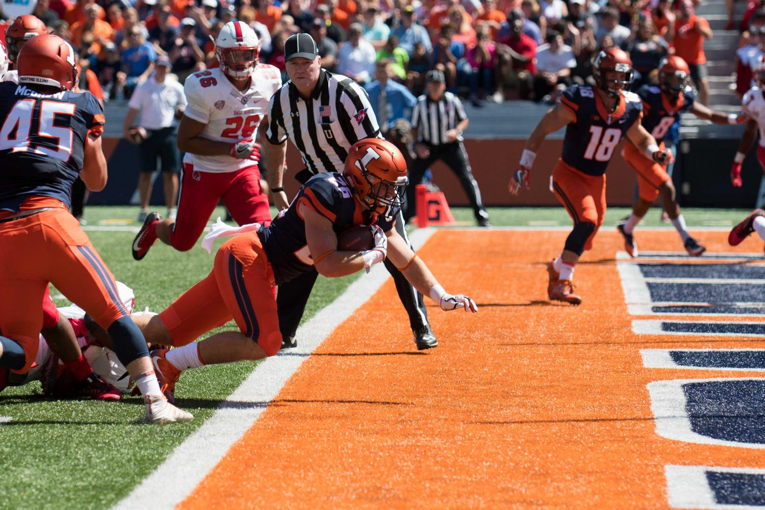 Illinois running back Mike Epstein dives for a touchdown during the game against Ball State on Saturday, September 2, at Memorial Stadium.