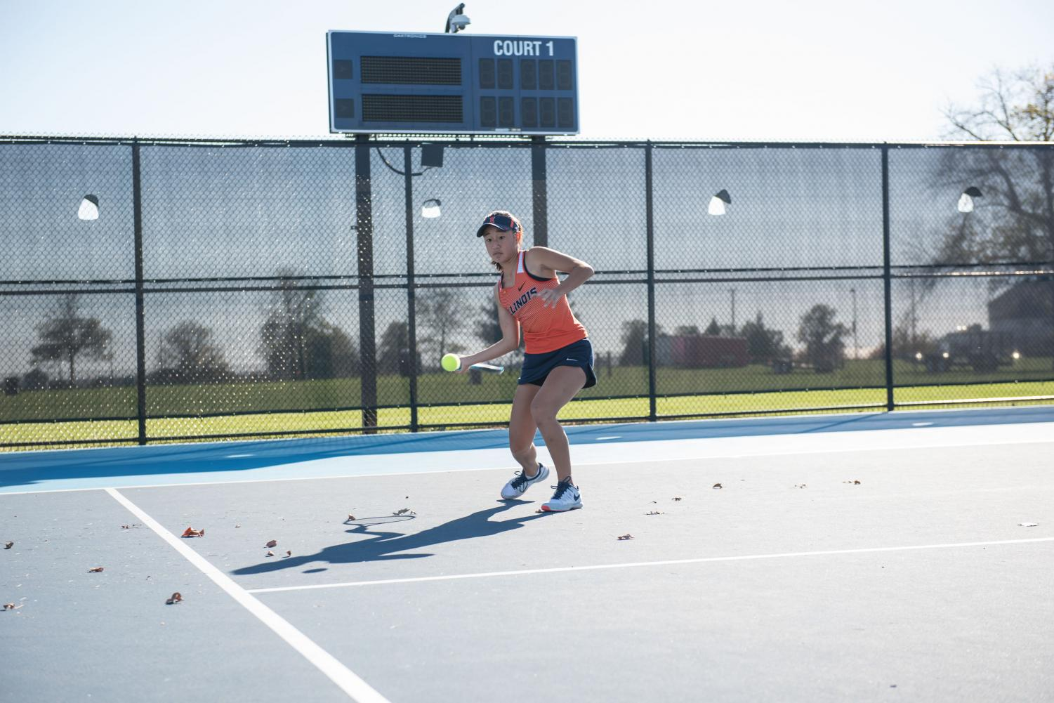 Illinois women's player Emilee Duong hits a forehand at Atkins Tennis Center. Duong won the ASU Invite last weekend. The team is proud of how it ended its last tournament of the season.