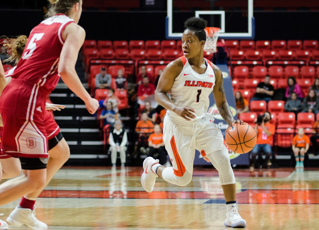 Brandi Beasley brings the ball up for Illinois in its win over Chicago State on Nov. 15. Beasley's seven-consecutive points against UC-Irvine helped clinch a win for Illinois last Friday.