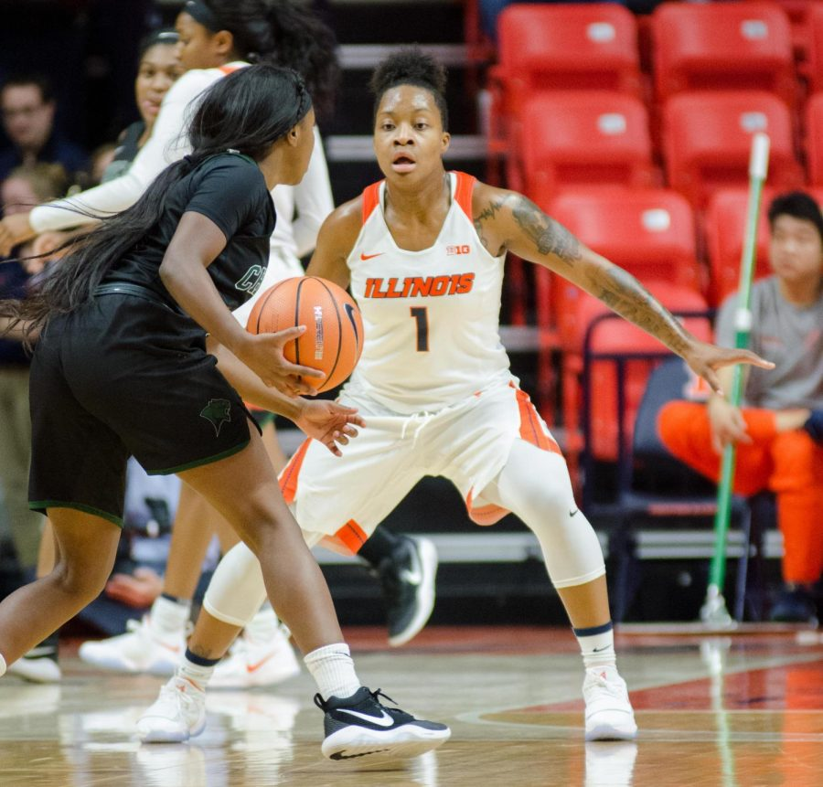 Brandi Beasley defends the opposing guard in Illinois' win over Chicago State on November 15th.