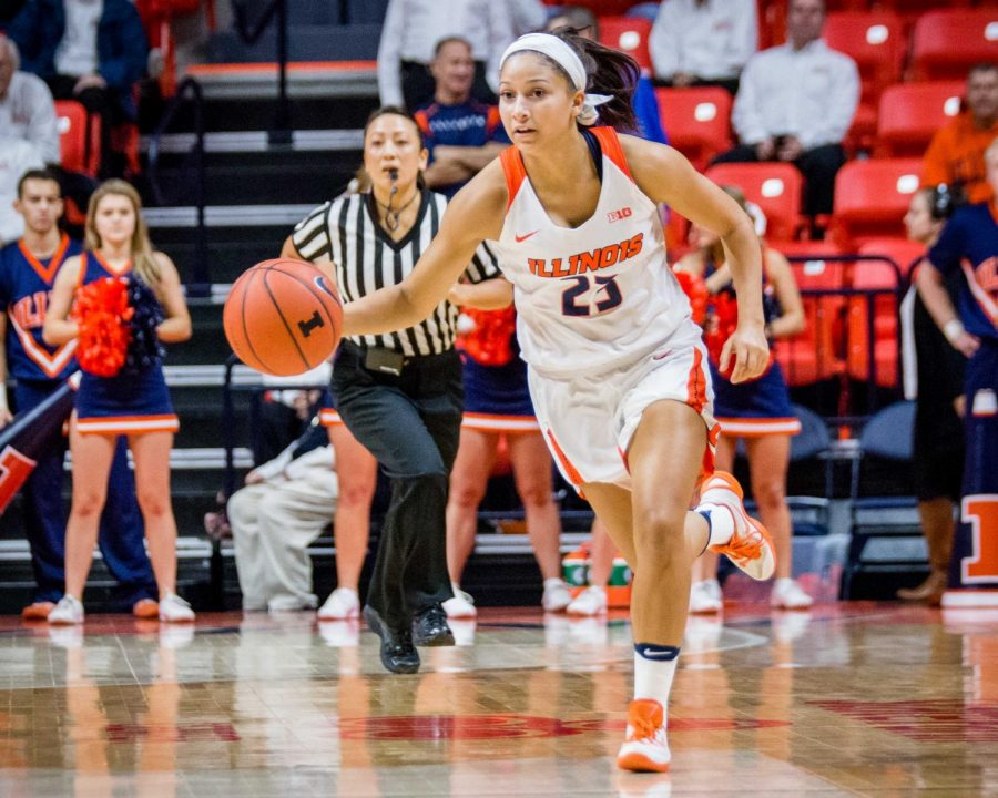 Illinois%E2%80%99+Jaelyne+Kirkpatrick+dribbles+the+ball+down+the+court+against+Wake+Forest+on+Nov.+30.+The+team+opens+its+regular+season+this+Friday+against+Fort+Wayne.+