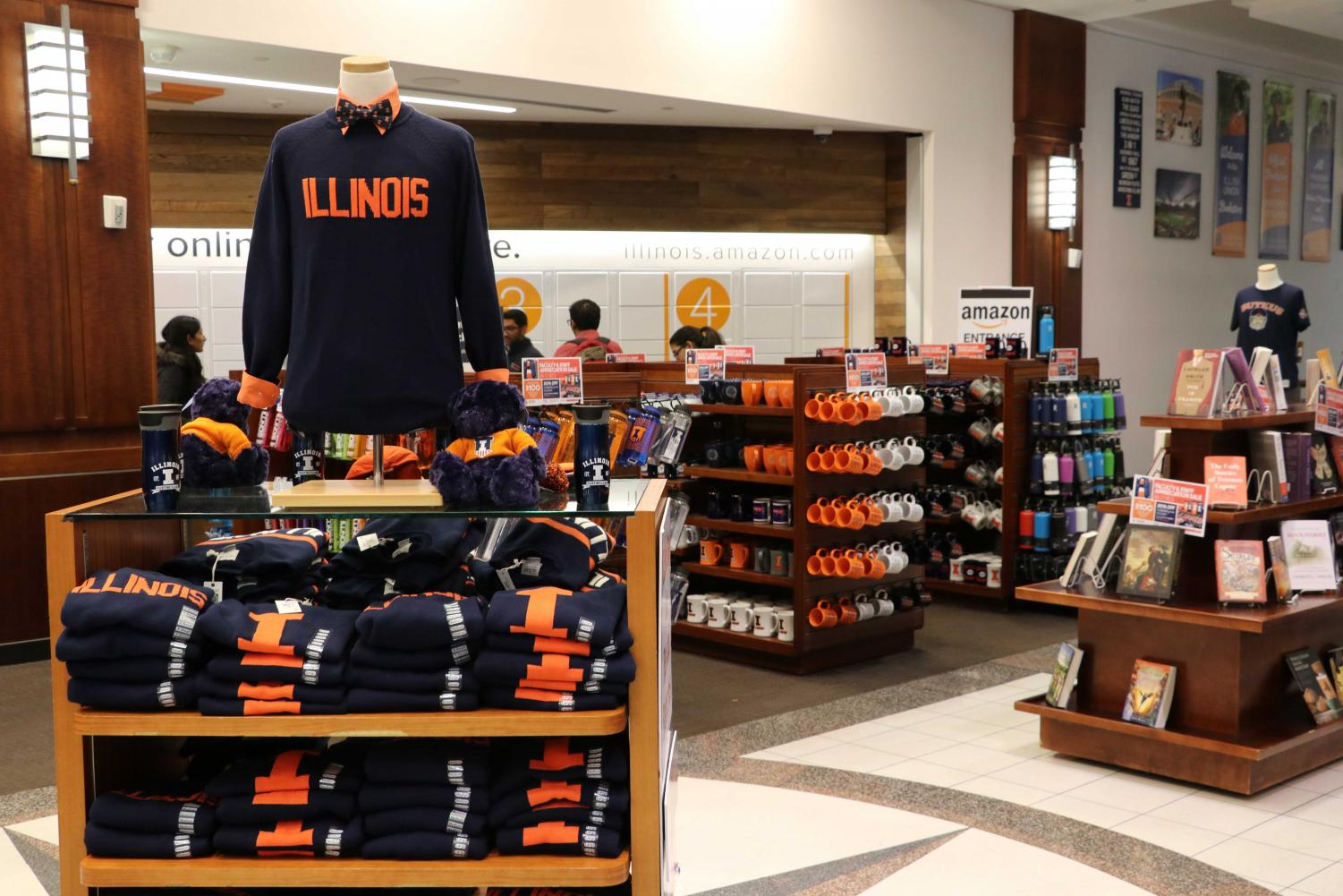 Shelves filled with items for sale at the Illini Union Bookstore, 809 S. Wright St., Champaign. This is a popular destination for students looking to work on campus, as longform editor Andrea writes.