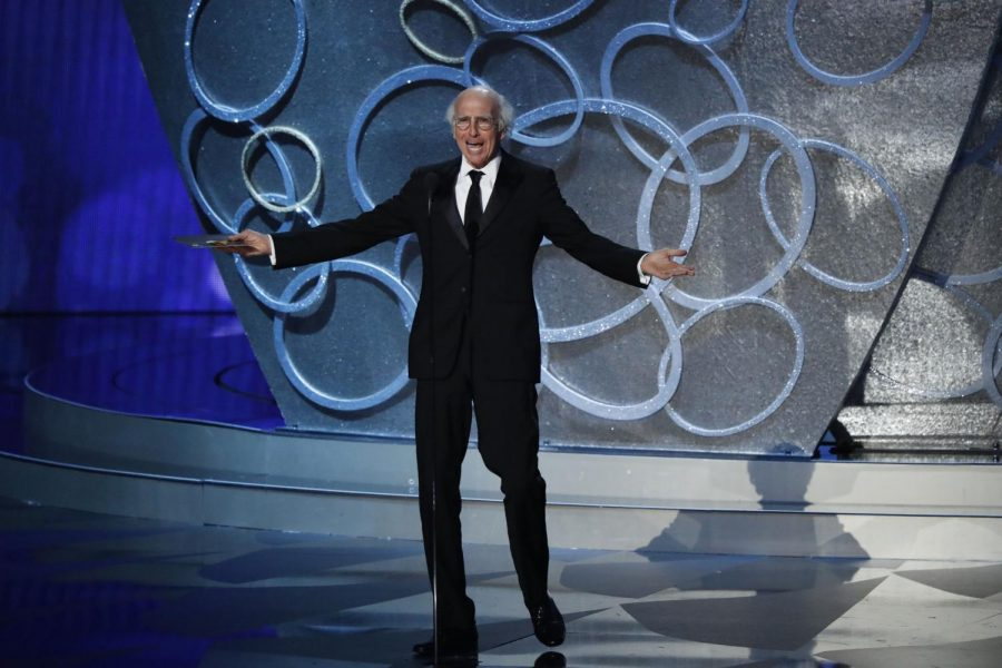 Larry David during the 68th Primetime Emmy Awards. David's recent SNL appearance caused much controversy over Holocaust jokes.