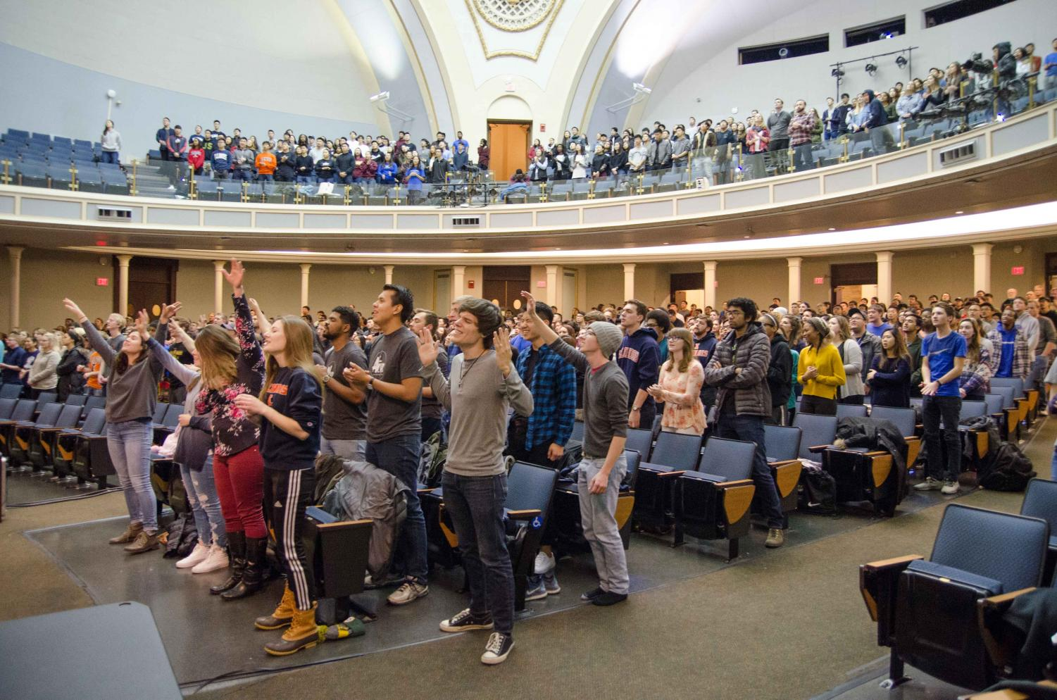 On Friday, November 10, 2017, University of Illinois students gathered in Foellinger Auditorium for a night of worship, teaching and prayer. The event was called Christianity on Campus and was put on by the joint effort of many Christian groups on campus.