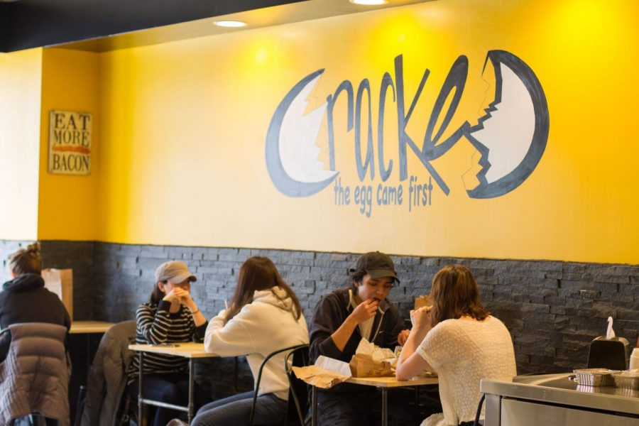 Students eating lunch inside the Cracked restaurant on Apr. 3, 2017.