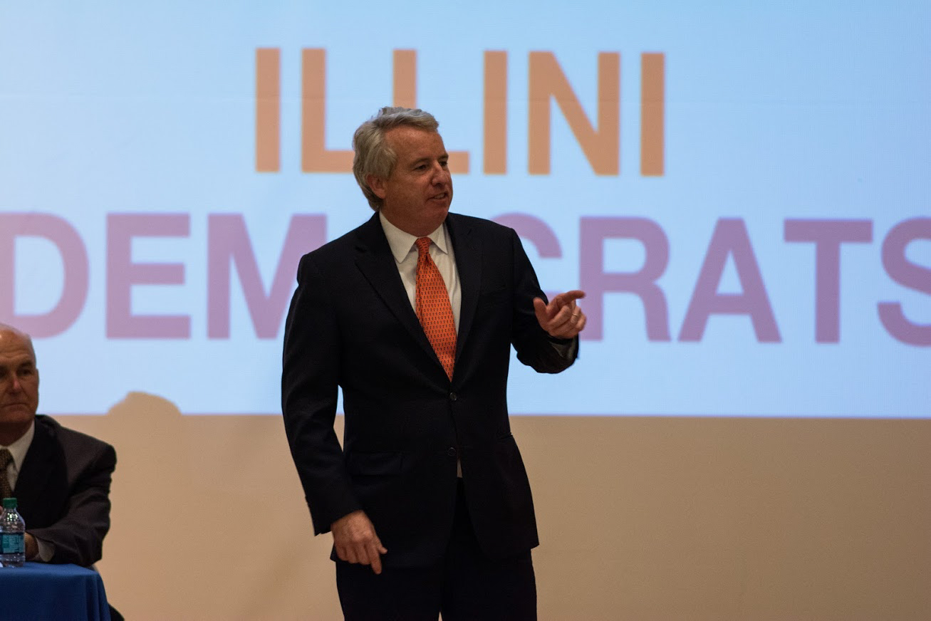 Chris Kennedy speaks during the Democratic gubernatorial candidate forum in Gregory Hall, Room 112, on Monday.