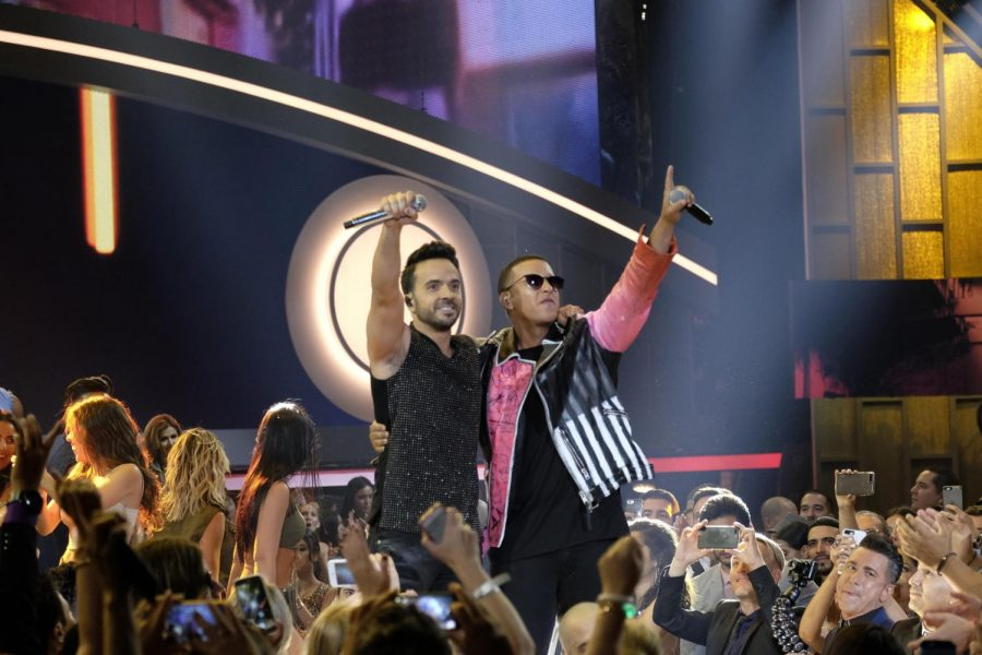 Singers Luis Fonsi (L) and Daddy Yankee (R) perform during the Billboard Latin Music Awards at the Warsco Center of Miami University in Coral Gables, Florida, on April 27.