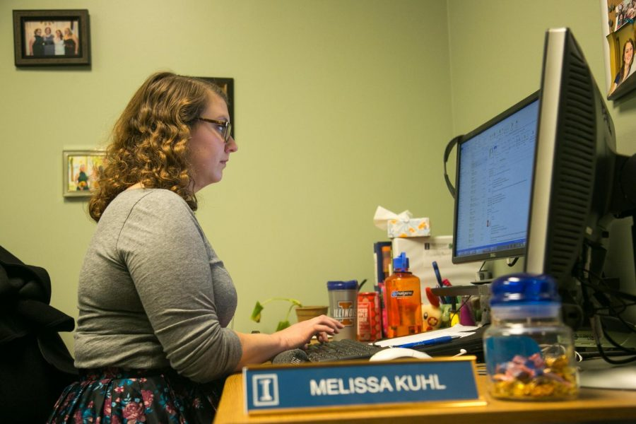 Melissa Kuhl, publicity specialist at the Illinois Extension office, working at her desk on Nov. 10, 2017. University Extension covers every county within Illinois, with 1.5 million residents participating every year.