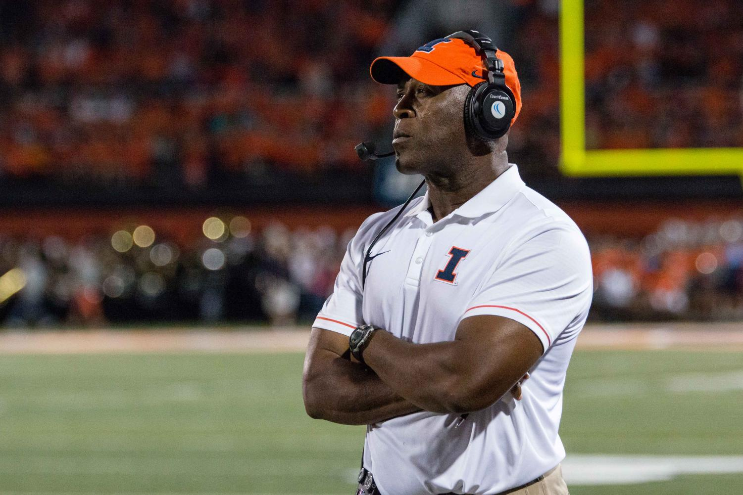 Illinois head coach Lovie Smith watches his team from the sidelines during the game against North Carolina at Memorial Stadium on Saturday, September 10. The Illini loss 48-23.