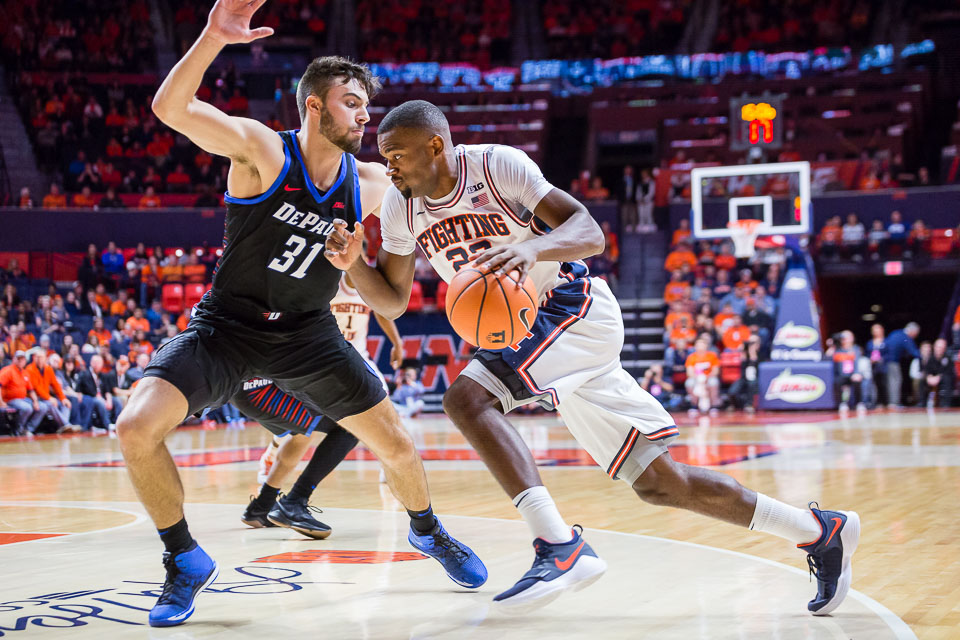 Illinois guard Aaron Jordan (23) drives to the basket during the game against DePaul at State Farm Center on Friday, Nov. 17, 2017.