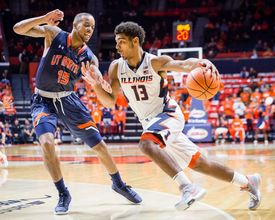 Illinois guard Mark Smith drives to the basket during the game against Tennessee-Martin at State Farm Center on Sunday, Nov. 12, 2017.