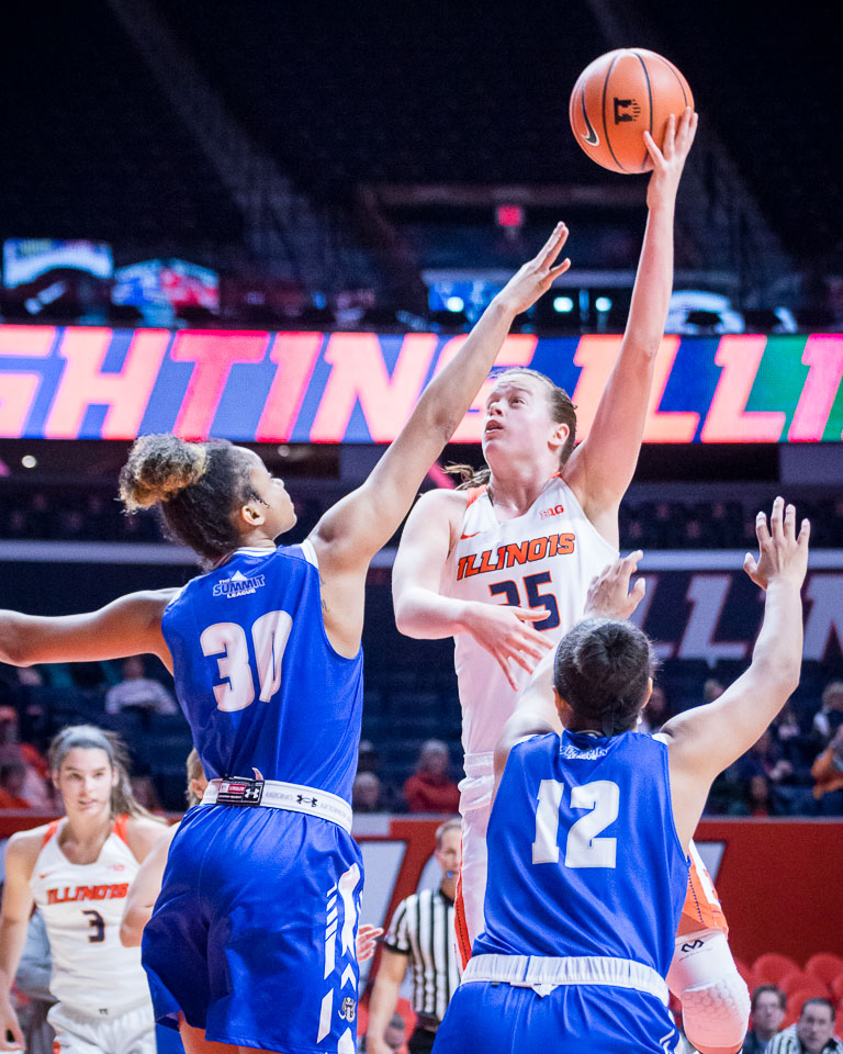 Illinois forward Alex Wittinger puts up a hook shot during the season-opening game against Fort Wayne at the State Farm Center on Friday, Nov. 10, 2017. Illinois won 64-50.