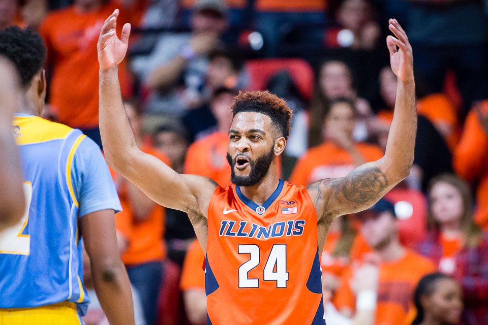 Illinois guard Mark Alstork (24) celebrates during the game against Southern at State Farm Center on Friday, Nov. 10, 2017.