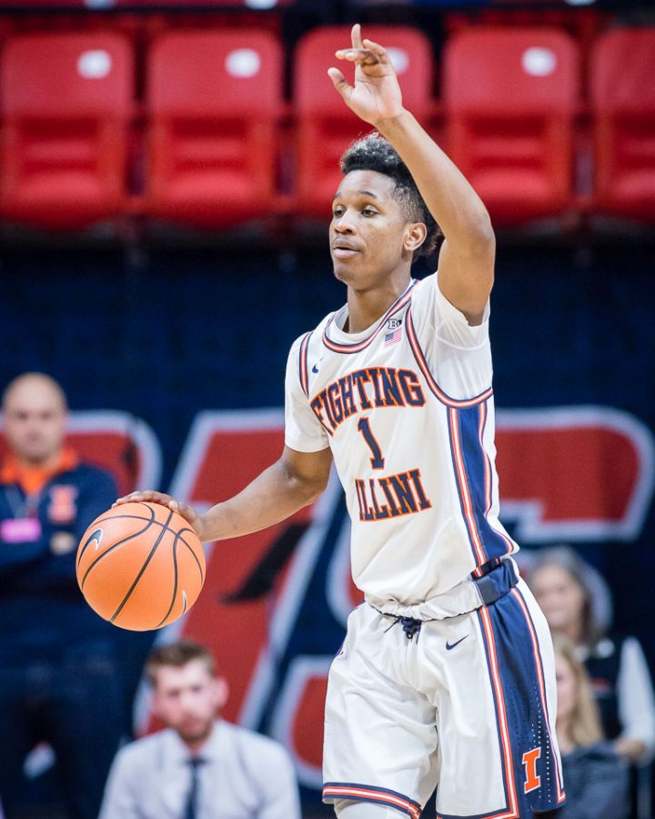 Illinois+guard+Trent+Frazier+%281%29+calls+out+a+play+as+he+dribbles+up+the+court+during+the+game+against+DePaul+at+State+Farm+Center+on+Friday%2C+Nov.+17%2C+2017.