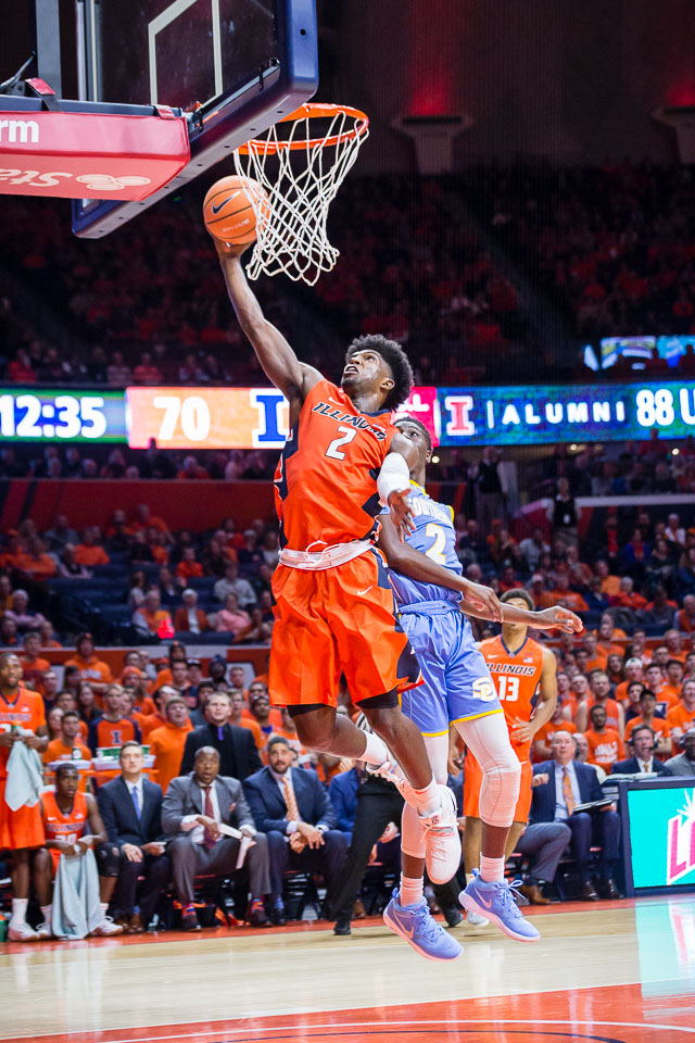 Illinois forward Kipper Nichols goes up for a layup during a game against Southern at State Farm Center on Friday, Nov. 10, 2017.