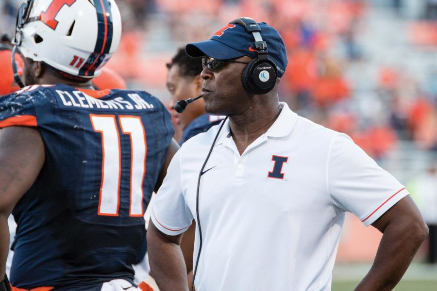 Illinois+head+coach+Lovie+Smith+walks+down+the+sideline+during+a+timeout+in+the+the+game+against+Western+Michigan+at+Memorial+Stadium+on+Saturday%2C+September+17.+The+Illini+lost+34-10.