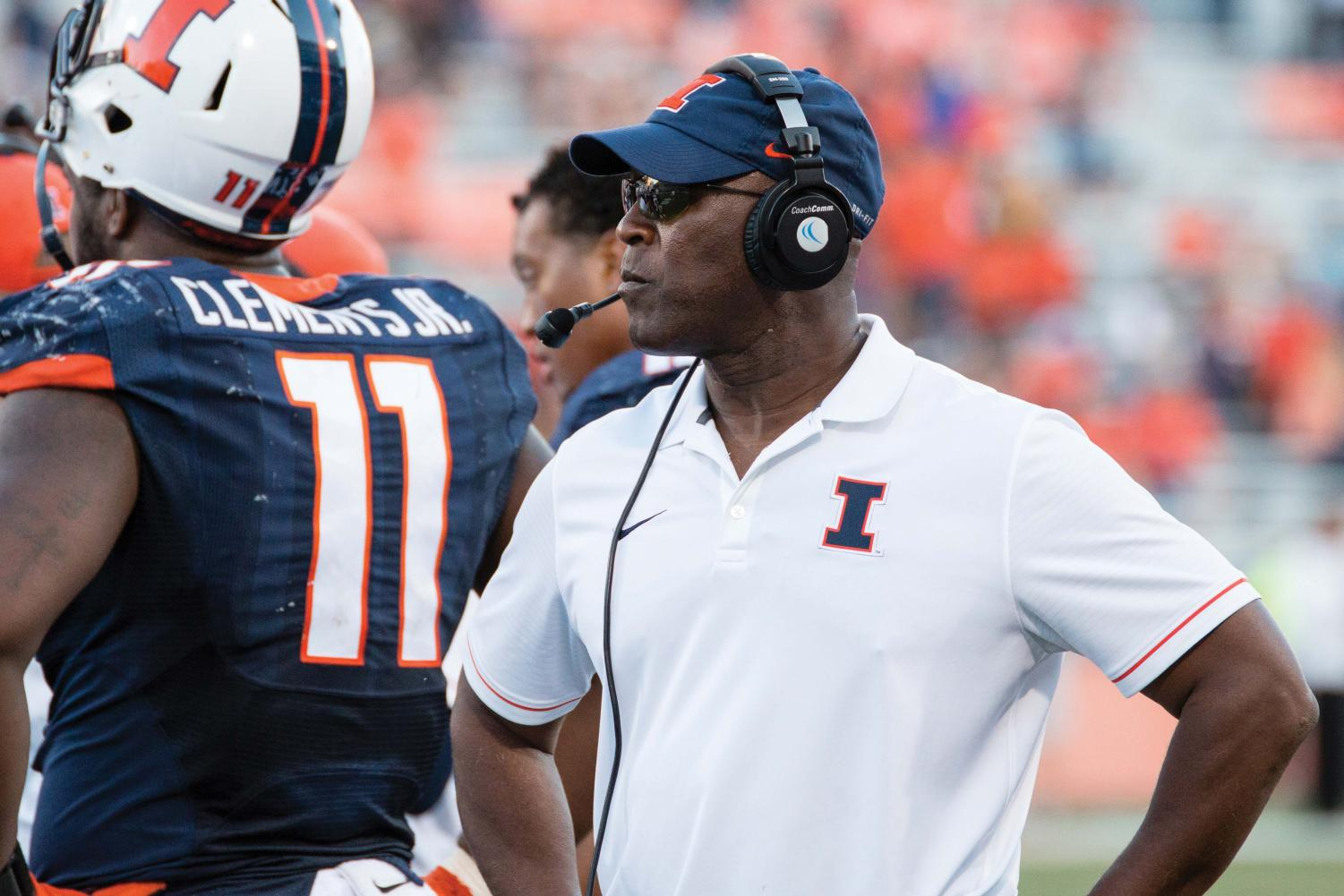 Illinois head coach Lovie Smith walks down the sideline during a timeout in the the game against Western Michigan at Memorial Stadium on Saturday, September 17. The Illini lost 34-10.