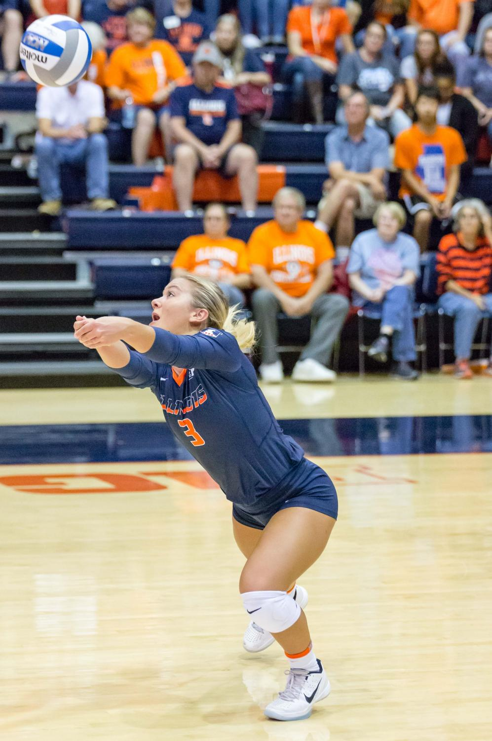Illinois defensive specialist Brandi Donnelly (3) passes the ball during the match against Purdue at Huff Hall on Oct. 6.