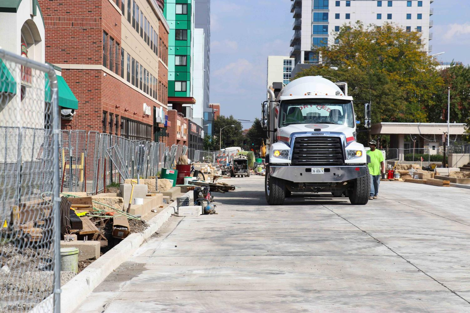 Heavy construction located on Green Street between First and Second streets in September. MCORE projects will stop construction until 2018.