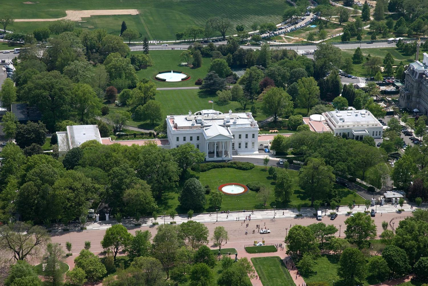 Aerial photo of the White House