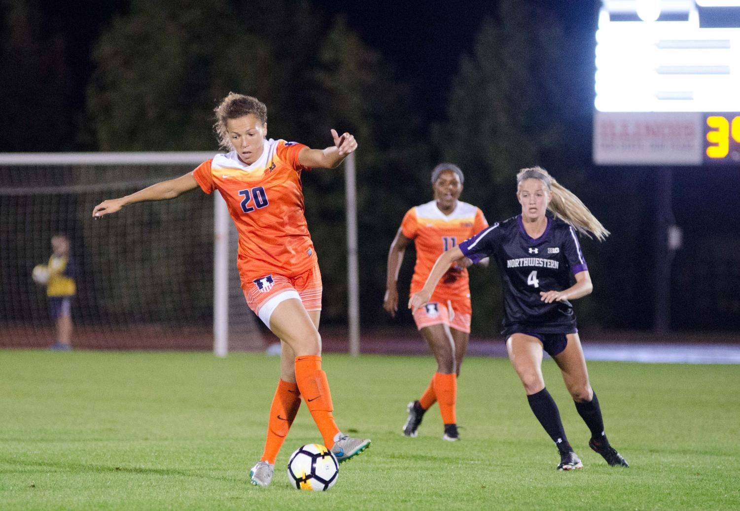 Senior forward Kara Marbury uses her footwork to advance the ball into Northwestern territory. The Illini won the matchup against the Wildcats 1-0, but that would be the Illini's last win of the season, ending it with a four-game losing streak.
