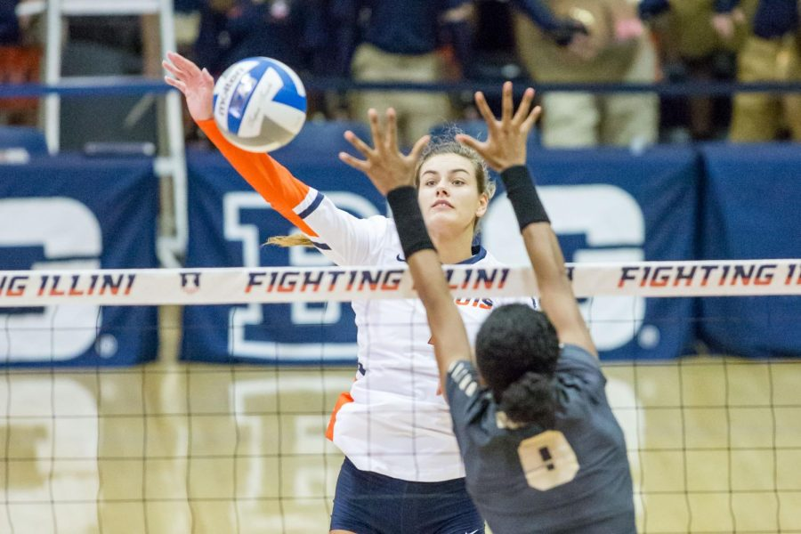 Illinois+outside+hitter+Jacqueline+Quade+hits+the+ball+during+a+match+against+Purdue+at+Huff+Hall+on+Oct.+6.+The+Illini+played+the+Spartans+in+their+last+game+this+year.