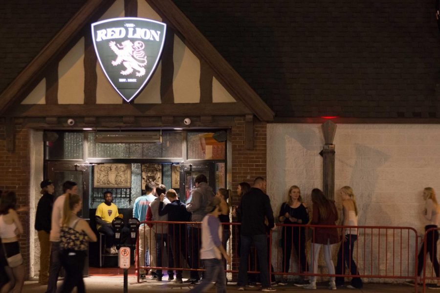 Students standing in line outside of Red Lion on Oct. 17.