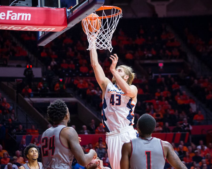 Illinois+forward+Michael+Finke+%2843%29+puts+up+a+layup+during+the+game+against+Austin+Peay+at+State+Farm+Center+on+Wednesday%2C+Dec.+6%2C+2017.