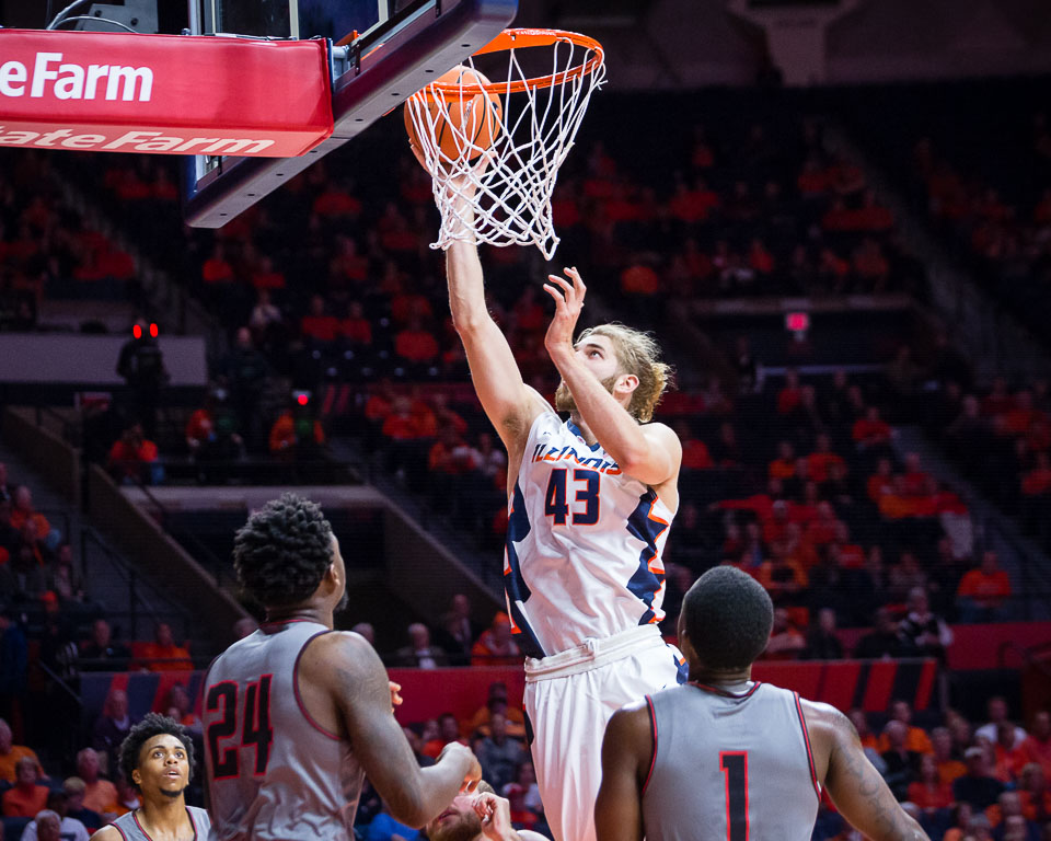 Illinois forward Michael Finke (43) puts up a layup during the game against Austin Peay at State Farm Center on Wednesday, Dec. 6, 2017.