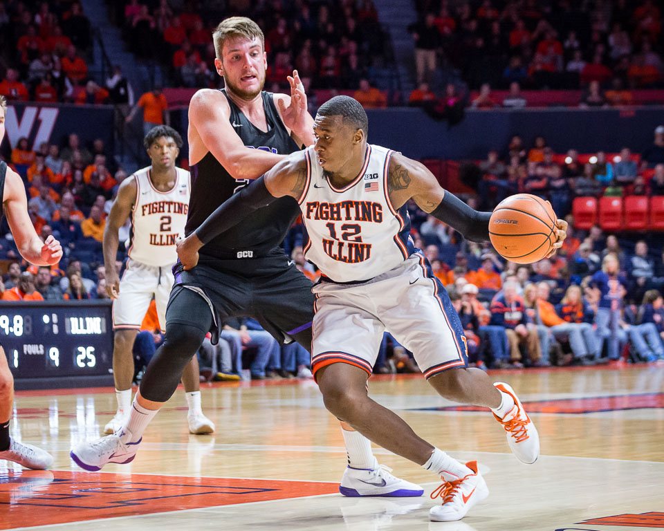 Illinois forward Leron Black (12) dribbles to the basket during the game against Grand Canyon at State Farm Center on Saturday, Dec. 30, 2017.