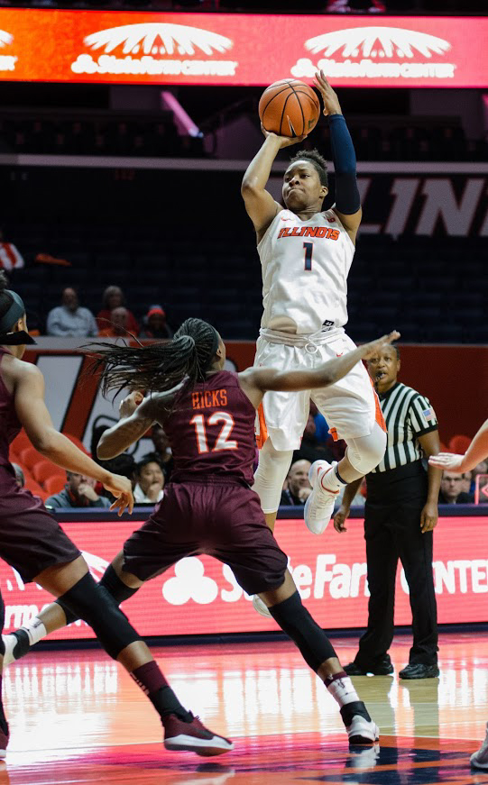 Brandi Beasley takes a shot from the lane in Illinois' loss against Virginia Tech on Thursday, Novermber 30.