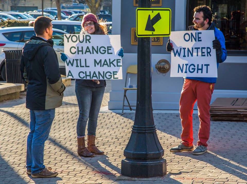 Fundraisers promote One Winter Night sponsored by CU at Home. One Winter Night is a fundraiser to help support people that are homeless by giving the community a chance to spend a night outside.
