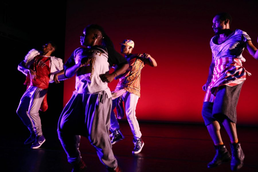 Dancers+perform+%E2%80%9CVirago-Man+Dem.%E2%80%9D+The+production+was+created+by+University+professor+Cynthia+Oliver+to+celebrate+black+masculinity.+Two+of+the+dancers%2C+Duane+Cyrus+and+Niall+Jones%2C+are+University+alumni+whom+Oliver+recruited+for+the+show.