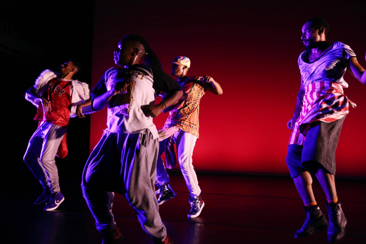 """Dancers perform """"Virago-Man Dem."""" The production was created by University professor Cynthia Oliver to celebrate black masculinity. Two of the dancers, Duane Cyrus and Niall Jones, are University alumni whom Oliver recruited for the show."""