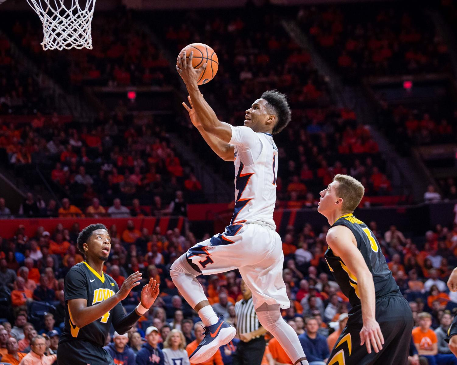 Illinois guard Trent Frazier (1) goes up for a layup during the game against Iowa at State Farm Center on Thursday, Jan. 11, 2018. The Illini lost in overtime 104-97.