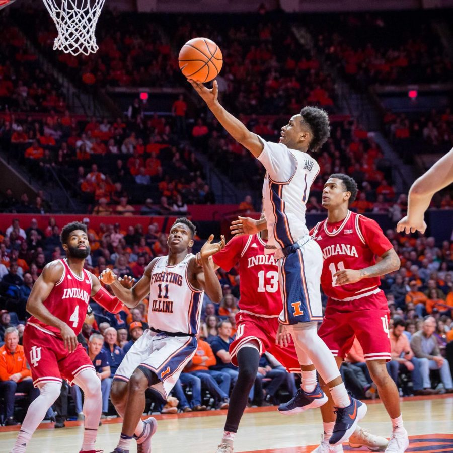 Illinois+guard+Trent+Frazier+goes+up+for+a+layup+during+the+game+against+Indiana+at+State+Farm+Center+on+Wednesday%2C+Jan.+24%2C+2018.+The+Illini+won+73-71.