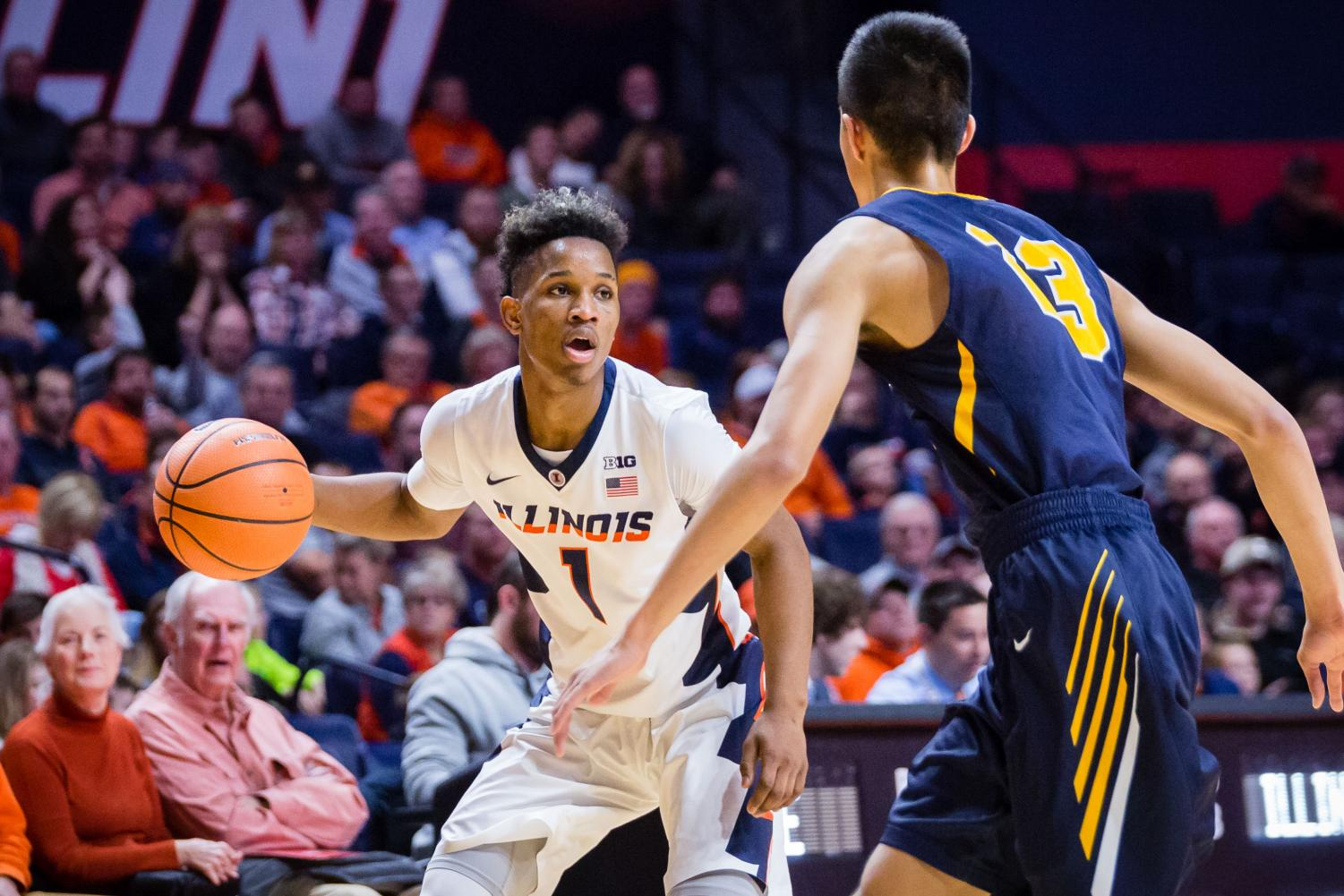 Illinois guard Trent Frazier looks for an open man during the game against Augustana on Nov. 22. The team under Brad Underwood hasn't performed quite as was anticipated.