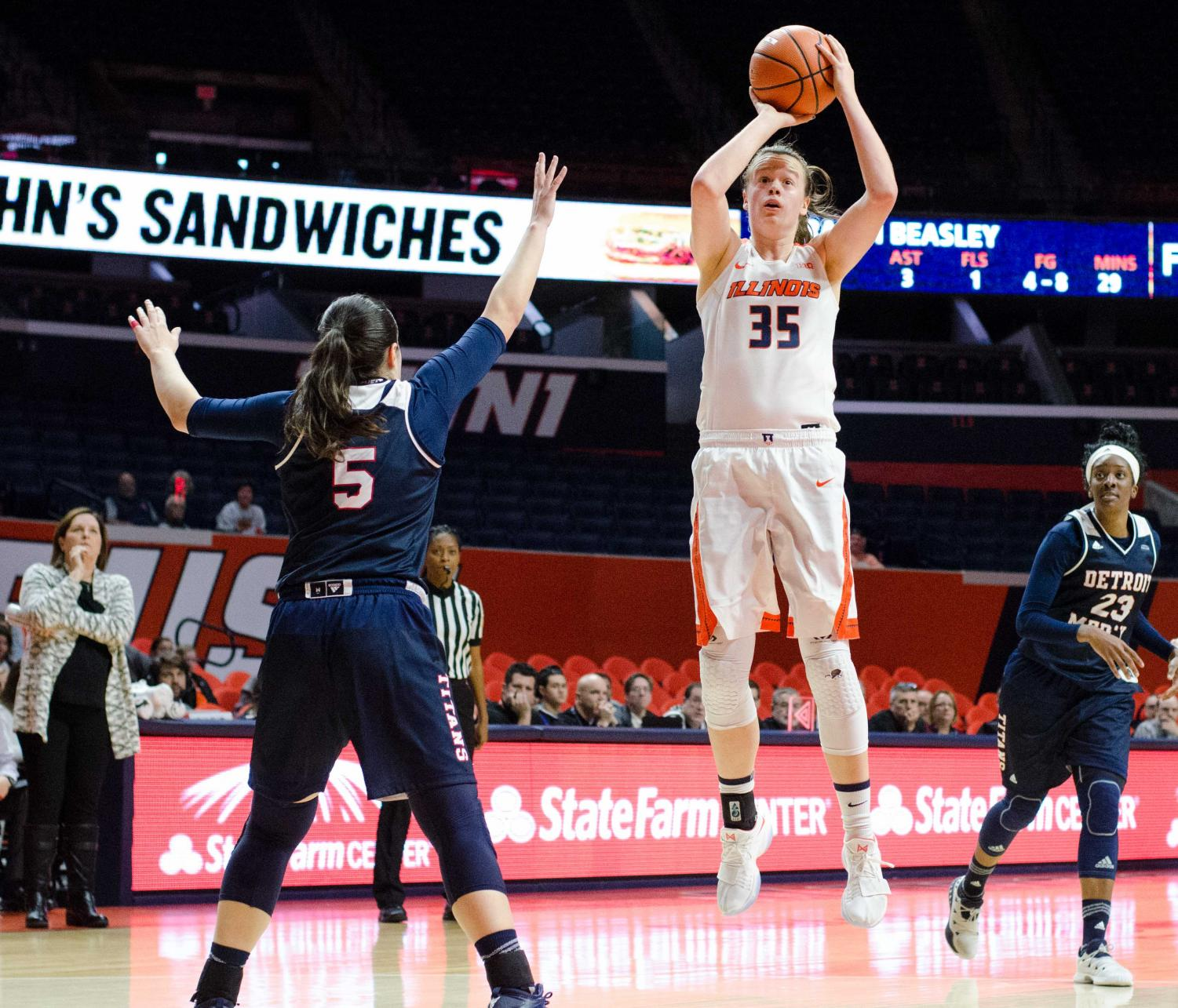 Alex Wittinger takes a shot for Illinois in their 73-65 win over Detroit Mercy on Dec. 10, 2017. The season hasn't gone as well as planned, with the team most recently sustaining a tough loss to Nebraska on Wednesday. Illinois' record is now 9-10.
