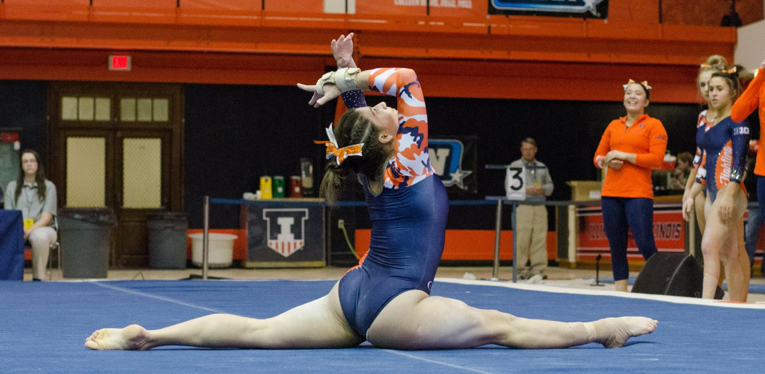 Karen Howell performs her floor routine during Illinois' meet against Michigan on Friday January 19, 2018. Illinois lost to Michigan 194.325 to 194.975.