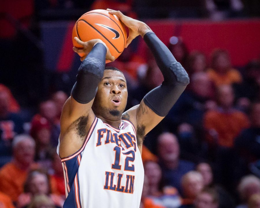 Illinois+forward+Leron+Black+shoots+a+three+during+the+game+against+Indiana+at+State+Farm+Center+on+Wednesday%2C+Jan.+24.+The+Illini+won+73-71.