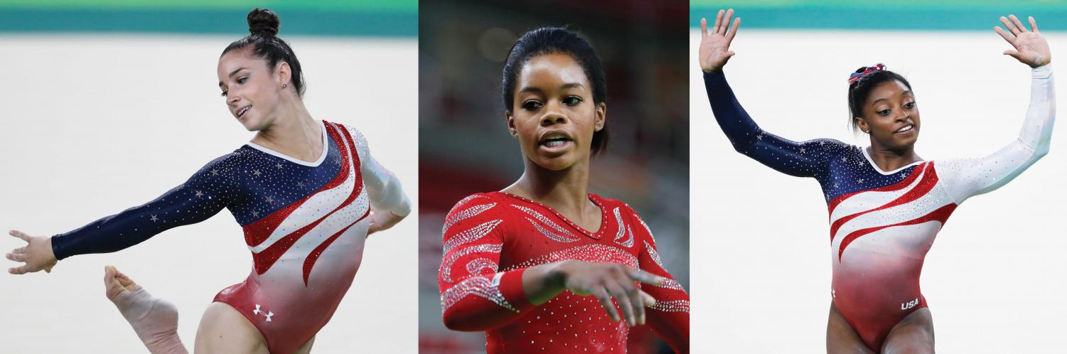 Photo of Aly Raismen (left) Gabby Douglas (center) and Simone Biles (right). All three gymnasts have accused Larry Nassar of sexual assault.