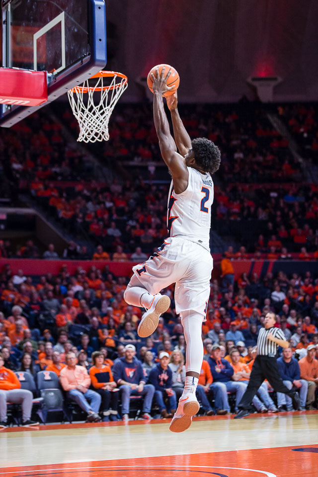 Illinois forward Kipper Nichols (2) rises up for a dunk during the game against Iowa at State Farm Center on Thursday, Jan. 11, 2018.
