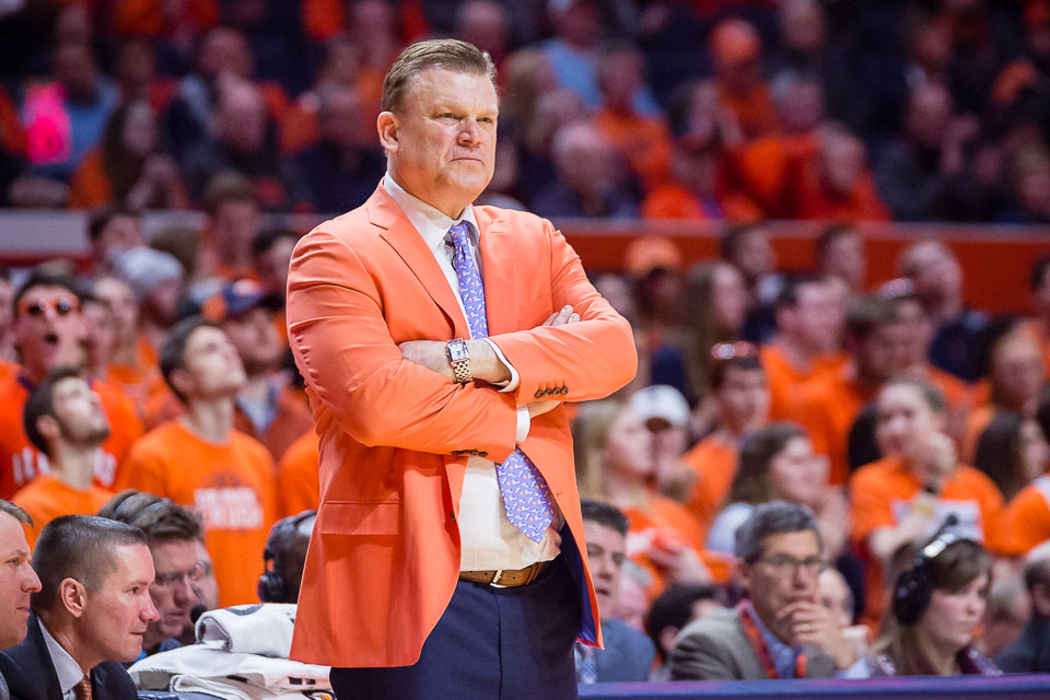 Illinois head coach Brad Underwood watches his team from the sideline during the game against Indiana at State Farm Center on Wednesday, Jan. 24, 2018.