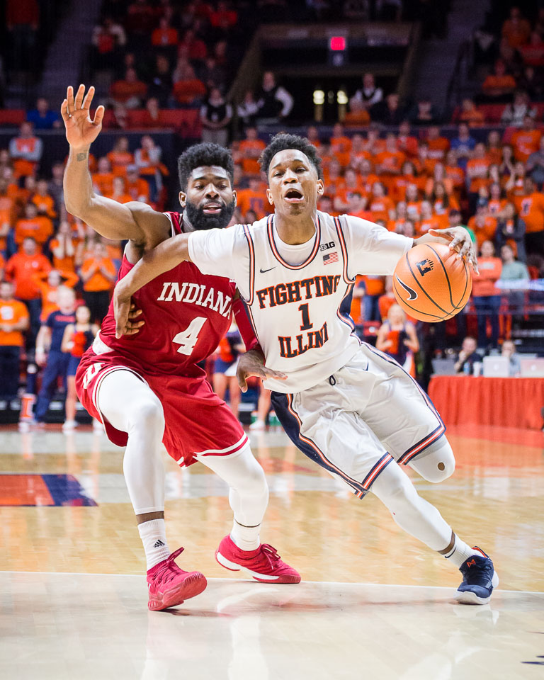 Illinois guard Trent Frazier tries to draw contact on his way to the basket during the game against Indiana at State Farm Center on Wednesday, Jan. 24, 2018.