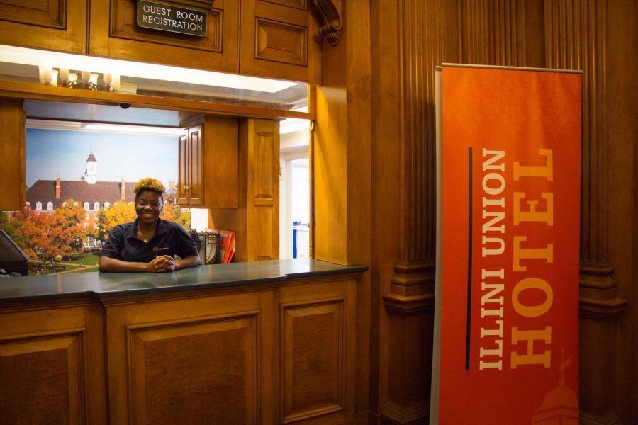 Baylin Shade, a sophmore major in community health, has been working at the Illini Union Hotel since last fall. (Jan 17th, 2018)