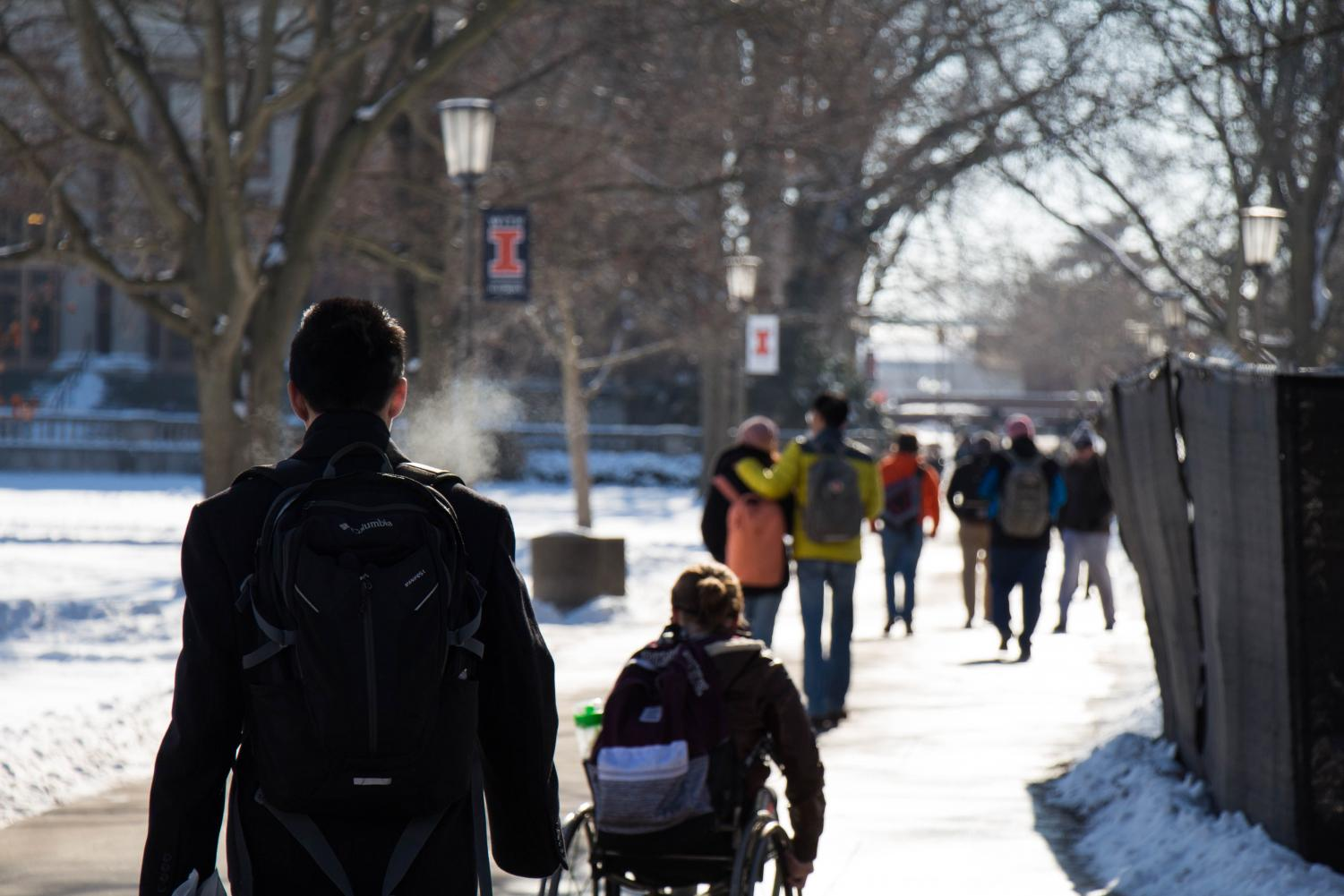 Students walking on the quad on Jan 17th, 2018.
