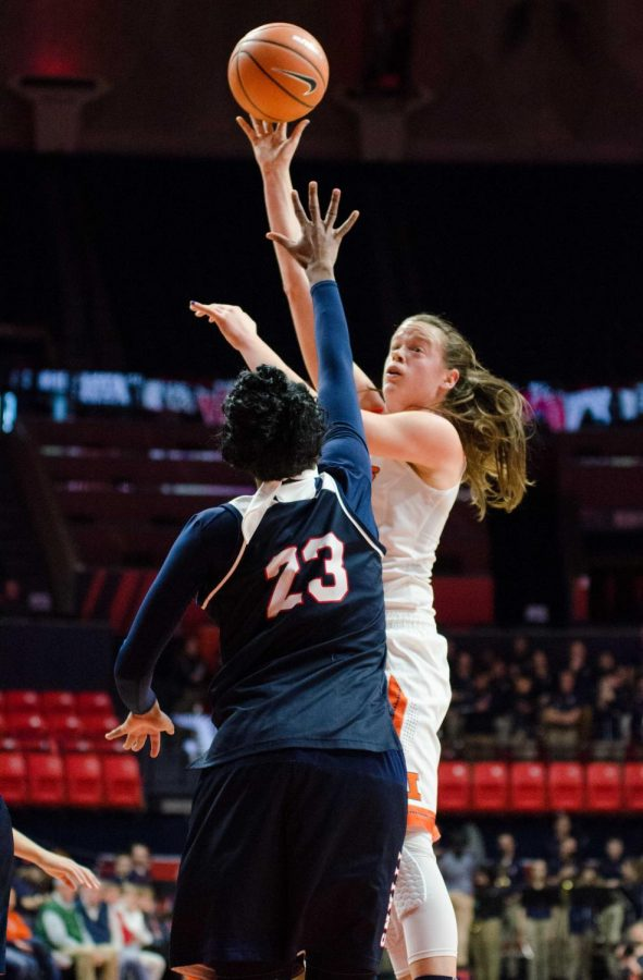 Alex Wittinger takes a shot for Illinois in their 73-65 win over Detroit Mercy on Sunday, December 10.