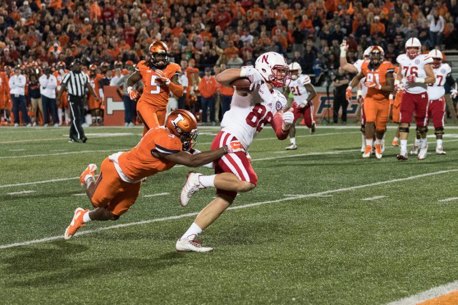 Nebraska scores during the game against Nebraska at Memorial Stadium.  The Illini fell 28-6.