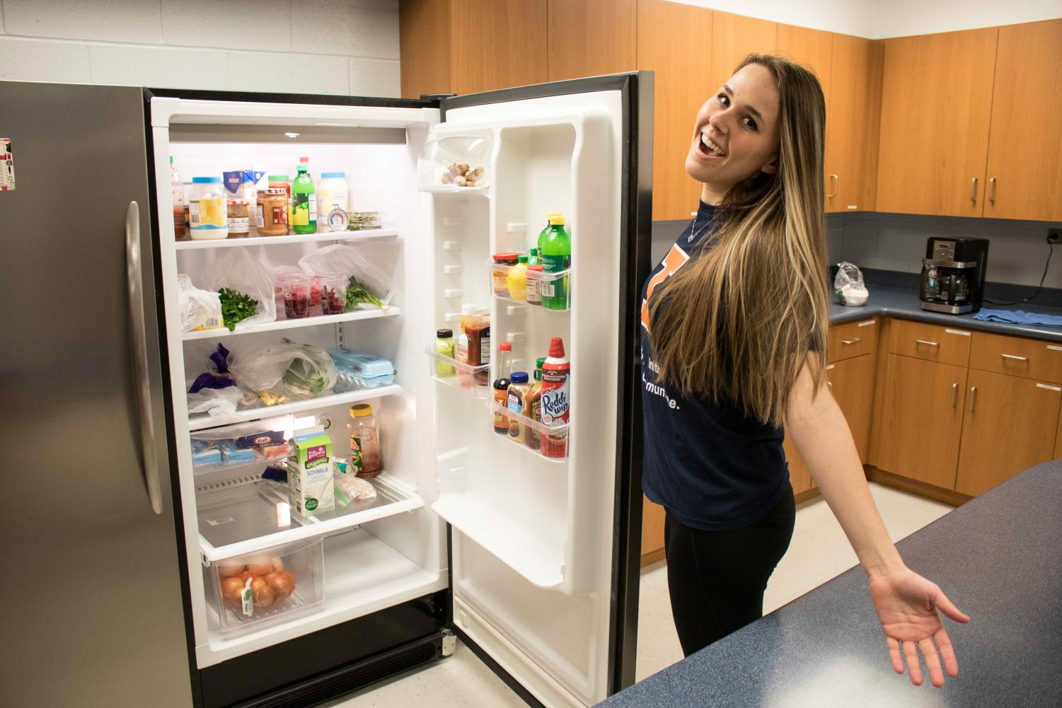 Samantha Gerry stands in the Instructional Kitchen at the ARC where sessions are held to help students gain a healthier lifestyle.